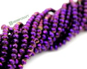 Royal Purple Beads, Small Electroplate Glass Beads, 150pc Strand, AB Color Plated Glass Beads, 4x3mm