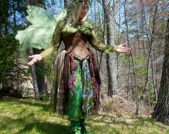 Lifesize Adult MOSS GREEN FAiRY WiNGS autumn fall woodland l elf elven Costume dress up goddess forest nymph gypsy queen Halloween CoSPLAY