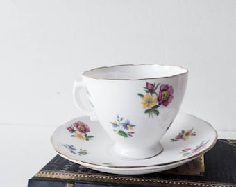 Vintage Royal Vale Fine Bone China Tea Cup Saucer Pink Yellow Blue Flowers Floral Green Leaves Leaf Gold Trim English Shabby Cottage Decor