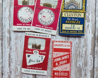 Lot of Vintage Needle Pack Sewing Supply Notion Made in England