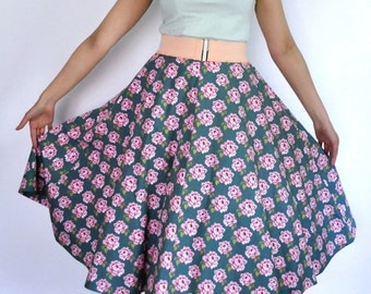 50s style circle skirt in sea green cotton with pink roses, size M / waist 29 inches
