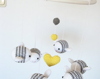 Bumble Bee Baby Mobile, Nursery Mobile, White and Gray Nursery Decor, Crochet Bee Crib Mobile