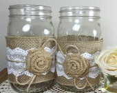 10 Burlap and Lace Mason Jars Wraps, Table Centerpiece, Rustic wedding, Burlap and lace, Wedding decor, Burlap wedding, Mason jar sleeves