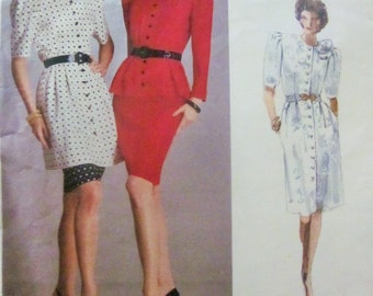Vogue American Designer Albert Nipon 2065 Women's 80s Dress Top Tunic and Skirt Sewing Pattern Bust 30.5 31.5 32.5