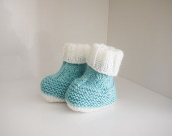 cute blue / white boot style baby booties
