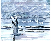 Gull Take Off print of watercolor by Mary Blocksma 8x10 Mat