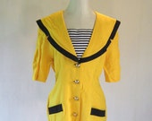 New Wave Nautical Yellow Blazer Shirt Top