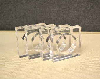1980s Lucite Square Napkin Rings, Set of 4