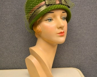 1960s Olive Green Hat with Satin Bow and Netting