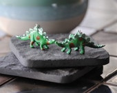 Spotted Dinosaur Earrings - Hand Painted Toy Dinosaur Jewelry