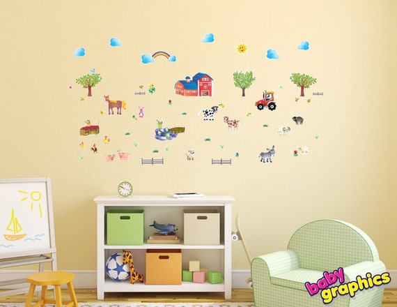 Farm & Animals wall stickers / decals scene - removable (by babygraphics)