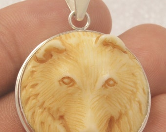 Carved Bone Antique Bear Sterling Silver 925 Jewelry Pendant E1023