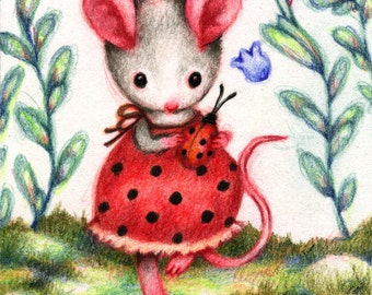 Ladybug Friend - 5x7 Print by Carmen Medlin