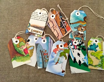 Six VINTAGE 'Little Golden Book'  luggage tags / gift tags