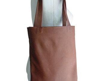 Basic leather tote, Goatskin bag Hand stitched bag Cocoa Brown leather bag, Hand stitched leather tote, Goatskin, soft leather bag, SALE