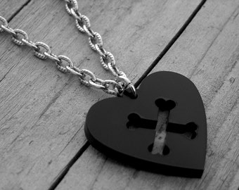 Black Heart Crossbones Necklace Halloween Black Heart Jewelry Gothic Goth Punk Rock and Roll Rocker Rock n Roll Pirate Skull and Crossbones