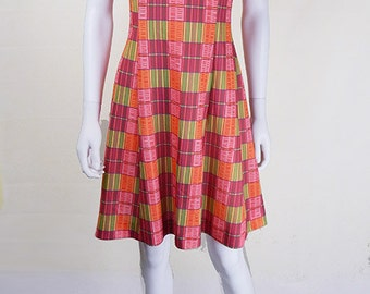 Original 1970s Vintage Bright Checkered Summer Dress UK Size 10