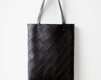Black Tote bag No.Tw- 202 geometric pattern
