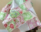 Baby Girl Rag Quilt Shabby Chic Florals Pink and Green Minky Patchwork Newborn, Baby, Crib Blanket 36X36 Ready to Ship