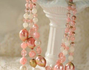 Chunky beaded 3 strand vintage necklace, pink & gold, multi strand necklace, mid century necklace