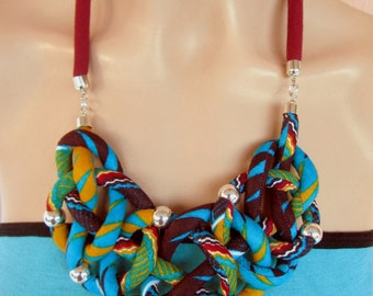 Sailors Knot necklace -  green, blue, burgandy/ mothers gift, ethnic nacklace