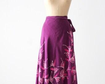 vintage 70s wrap skirt, tropical purple skirt
