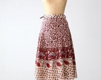 vintage 70s block print wrap skirt