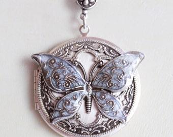 Locket Necklace,Butterfly Silver Locket,Jewelry ,White Locket,Gift,Snow,Pendant,filigree locket necklace, filigree locket,Wedding Necklace