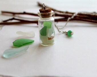 Beach glass in bottle.