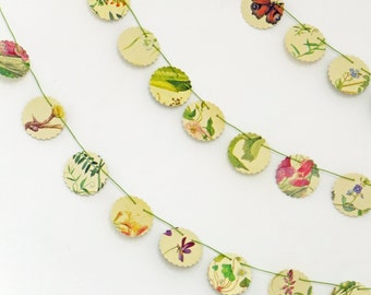 Mini Floral Bunting, Small garland, flower bunting, wedding decor, floral garland, paper bunting, recycled banner, workspace decor