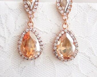 Bridal Earrings Wedding Earrings Dangle Earrings Wedding Jewelry Bridal Jewelry Pear Rhinestones Zirconia Champagne Drop Earrings