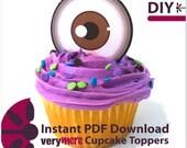 DIY Brown Eyed Cupcake Toppers Digital Download