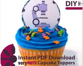 DIY Microscope Cupcake Toppers Digital Download