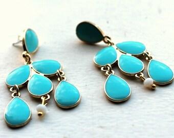 turquoise long drop earrings