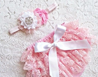 Pink Vintage Lace Ruffle Baby Bloomer set, diaper cover and headband. Infant, toddler  0-24 mth