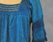 Mexican Dress, Boho Dress, Hippie Dress, Blue Mexican Dress, Cotton Lace Mexican Dress, Ethnic Dress. Large Dress
