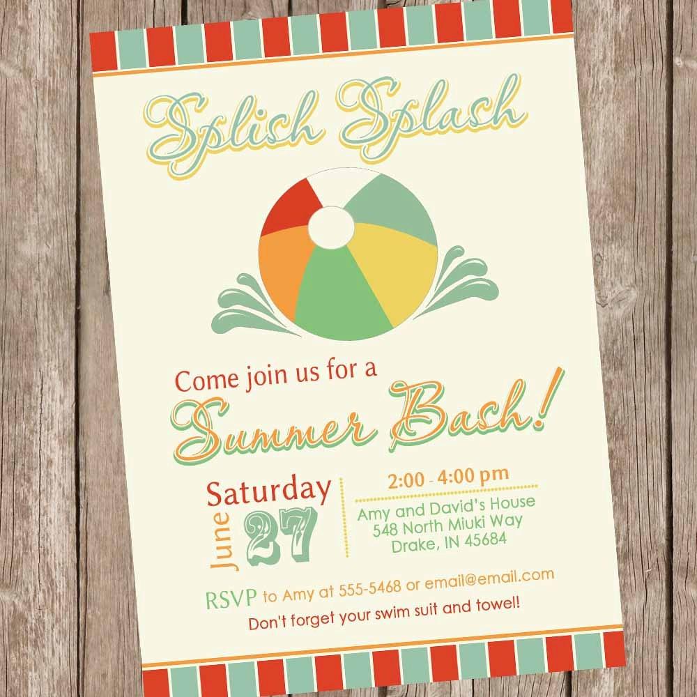 Summer bash invitations, pool party invitation, beach party ...