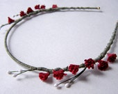 Wine Red Laurel Flower Headband
