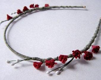 Wine Red Laurel Flower Headband