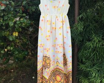 Novelty Print Slip, Vintage 1960's Nightgown,  Bust Size 36, Full Length, Floral Print Slip