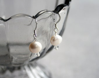 Cream and Crystal Earrings