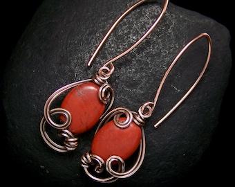 Red Jasper Wire Wrapped Copper Earrings Handmade Jewelry by SWJ SculptedWindows