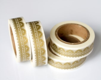 WASHI TAPE CLEARANCE - 1 Roll of Gold and White Scallop Lace Doily Washi Tape / Decorative Masking Tape (.60 inches wide x 33 feet long)