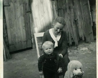 "Vintage Photo ""Fake Pet"" Stuffed Animal Snapshot Photo Old Antique Photo Black & White Photograph Found Photo Paper Ephemera Vernacular - 73"