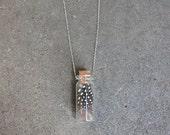 Guinea Hen Feather Specimen Jar Necklace