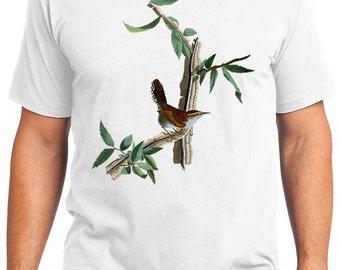 Bewicks Wren Bird Retro Men & Ladies T-shirt - Gift for Bird Lovers and Ornithologist (idc018)