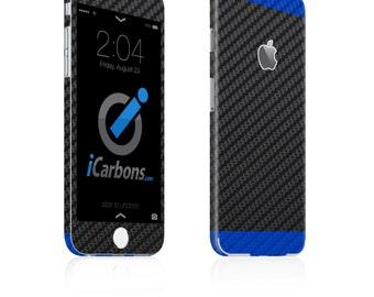 iCarbons 2 Tone Black / Blue Carbon Fiber iPhone 6 / 6 Plus / 6S / 6S Plus Skin Decal FULL COMBO