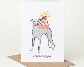 Whippet Birthday Card (dog birthday card, funny dog card, cute dog card, blank dog card, foodie card, summer dog card, walnut whip card)