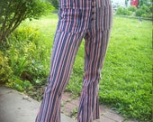 RESERVED 70s Red White and Blue Striped Denim Hip Hugger Bell Bottoms By Leggs Patriotic Pants 4th of July