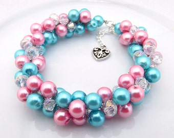 Pearl Cluster Bracelet, Pink Turquoise Pearl Bracelet, Chunky Bracelet, Colorful Bridal Bracelet, Bridesmaid Jewelry